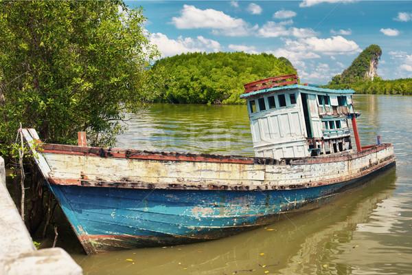 Eski Taylandlı gemi ahşap krabi Tayland Stok fotoğraf © PetrMalyshev