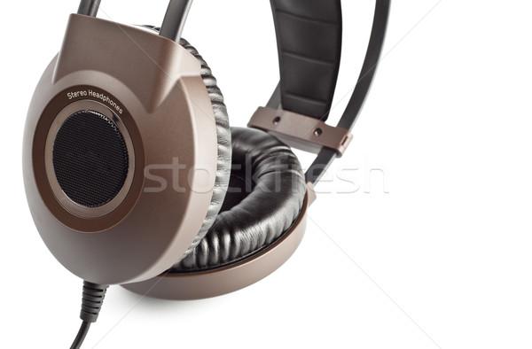 Marrón estéreo auriculares primer plano aislado blanco Foto stock © PetrMalyshev