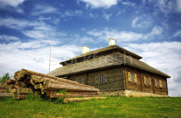 wooden cottage on green hill Stock photo © PetrMalyshev