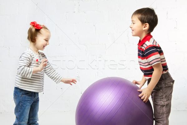 Сток-фото: детей · мяча · красивая · девушка · мальчика · играет · большой