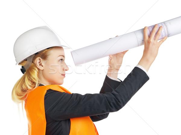 Engineer Woman With Drawing Stock photo © PetrMalyshev