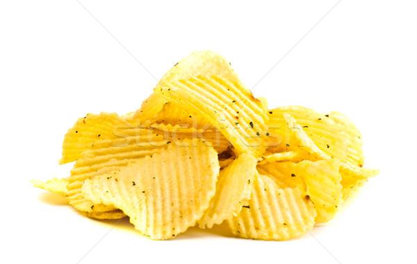желтый картофельные чипсы изолированный белый золото жира Сток-фото © PetrMalyshev