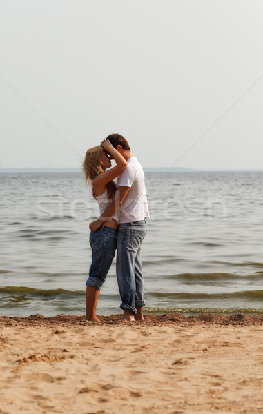 Сток-фото: пару · пляж · красивой · девушки · океана