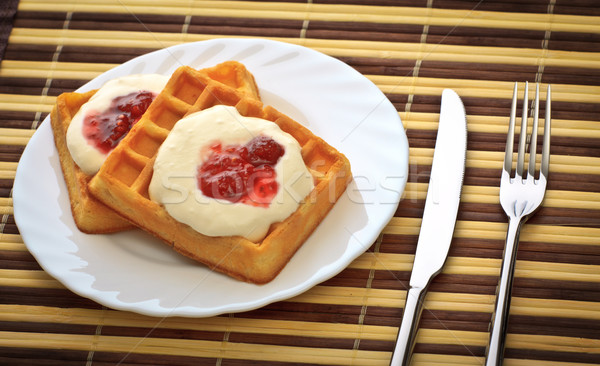 Desayuno tenedor cuchillo plato suave alimentos Foto stock © PetrMalyshev