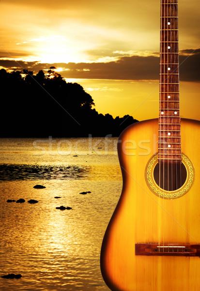 Amarelo violão clássico natureza nuvens madeira Foto stock © PetrMalyshev