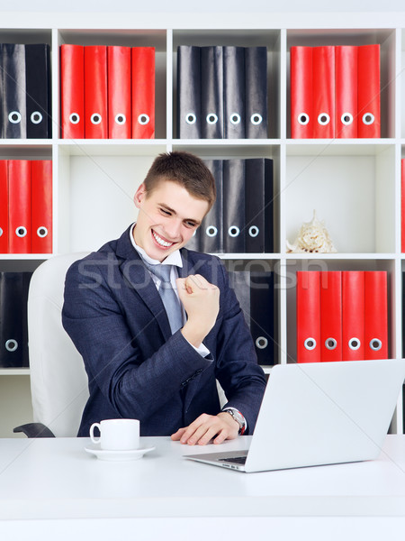 Young Businessman Triumph Stock photo © PetrMalyshev