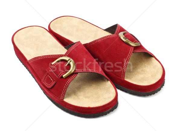 Rood slippers geïsoleerd witte foto schoen Stockfoto © PetrMalyshev