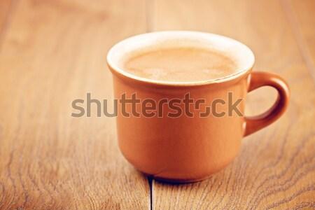 Taza de café mesa de madera taza café expreso café alimentos Foto stock © PetrMalyshev
