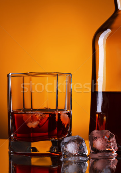 Whiskey Bottle And Glass Stock photo © PetrMalyshev