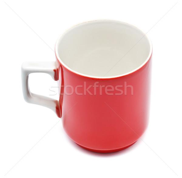 Foto stock: Vermelho · caneca · caneca · de · café · isolado · branco · cozinha