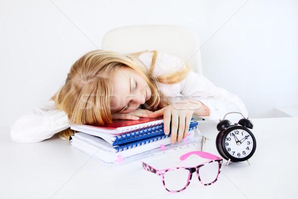 Zmęczony pracy kobieta interesu snem biuro tabeli Zdjęcia stock © PetrMalyshev