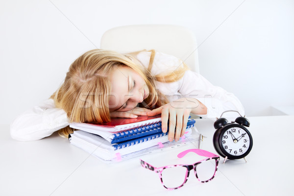 Moe werk zakenvrouw slapen kantoor tabel Stockfoto © PetrMalyshev
