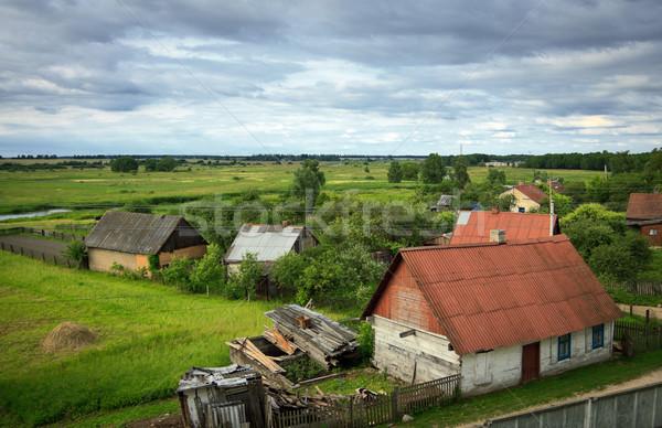 Köy yaz görmek gökyüzü ev Stok fotoğraf © PetrMalyshev