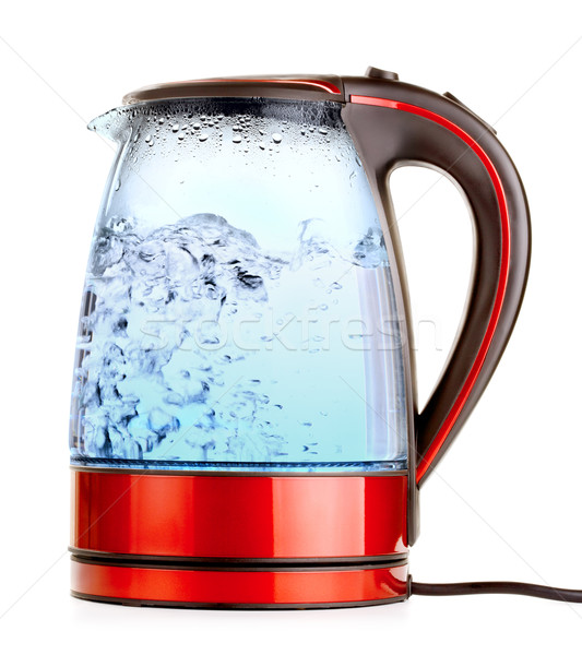 Elektrische ketel glas water geïsoleerd witte Stockfoto © PetrMalyshev