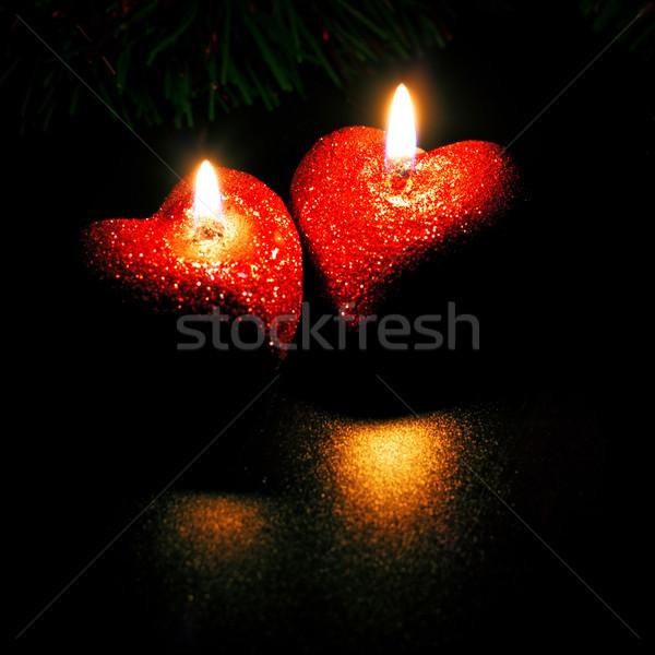 Twee kaarsen hart Rood zwarte Stockfoto © PetrMalyshev