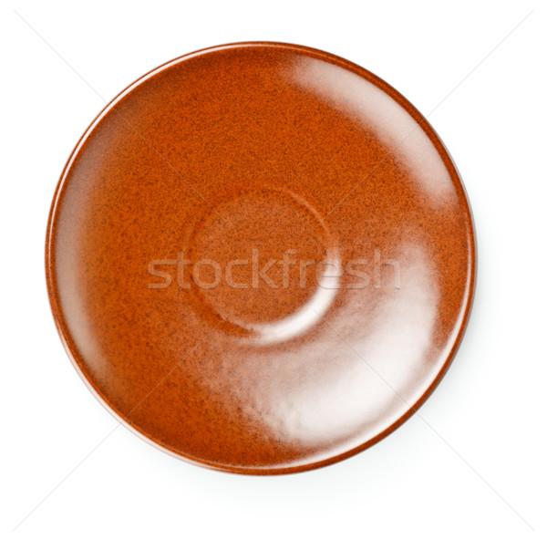 Marrón cerámica platillo aislado blanco fondo Foto stock © PetrMalyshev