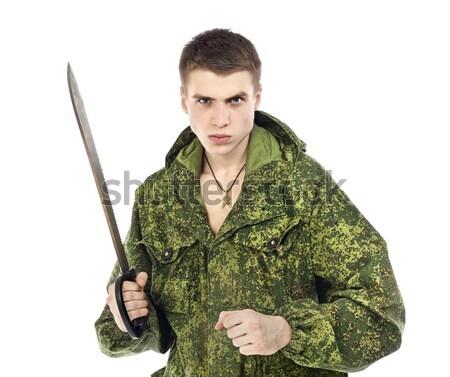 Foto d'archivio: Militari · uomo · giovani · gun · isolato · bianco