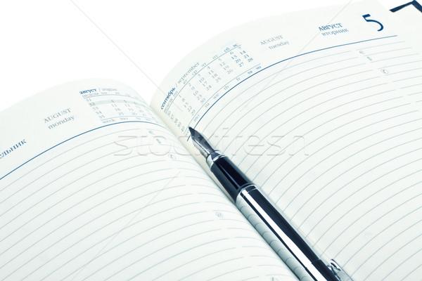 Caneta-tinteiro diário isolado branco escritório Foto stock © PetrMalyshev