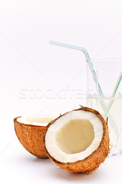 coconut and glass with coco milk Stock photo © PetrMalyshev