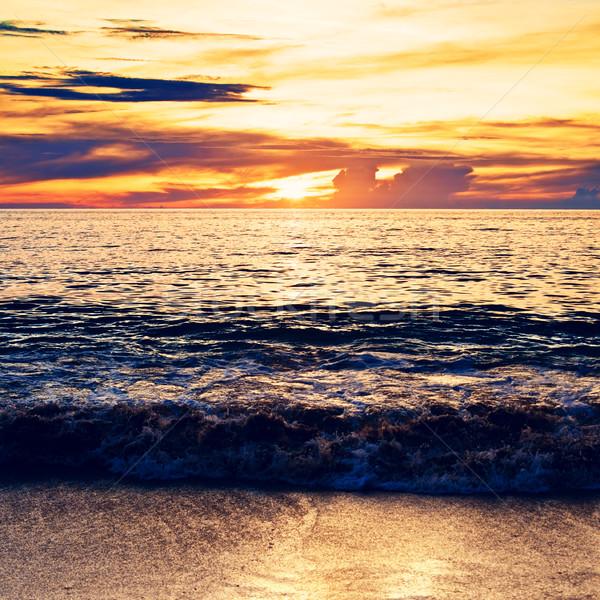 Stock fotó: Tenger · felület · naplemente · égbolt · víz · nap