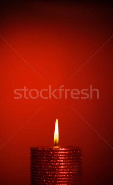 Ardere lumânare ceara roşu incendiu fundal Imagine de stoc © PetrMalyshev