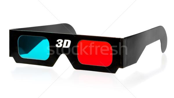3d gözlük siyah 3D gözlük yalıtılmış beyaz Stok fotoğraf © PetrMalyshev