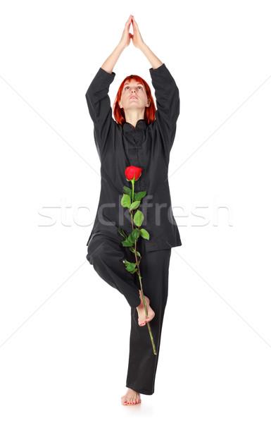 Wushu Woman With Red Rose Stock photo © PetrMalyshev