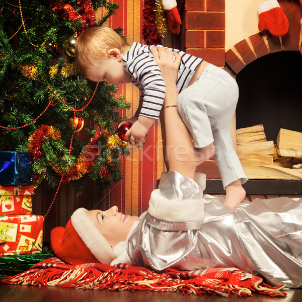Mother and Baby Near Christmas Three Stock photo © PetrMalyshev