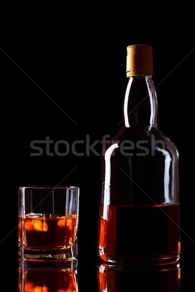 Whiskey Bottle And Glass Stock photo © PetrMalyshev