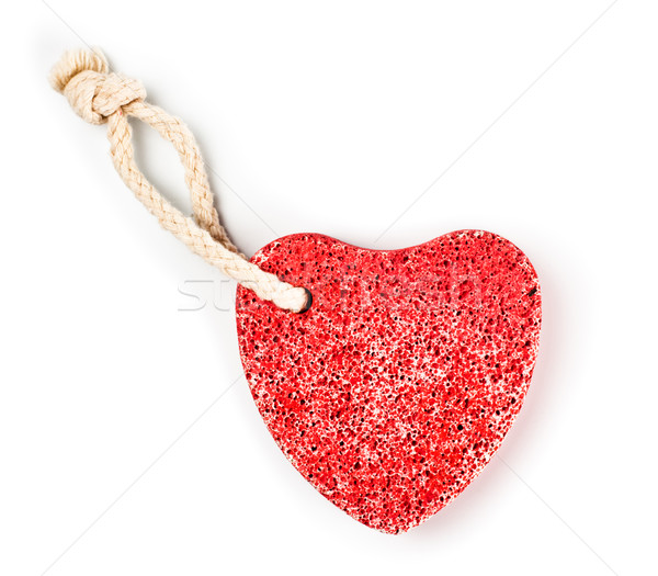 red heart-shaped stone with rope Stock photo © PetrMalyshev
