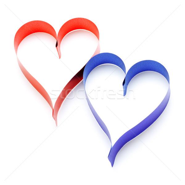 Kettő szívek szív alakú szalagok izolált Stock fotó © PetrMalyshev
