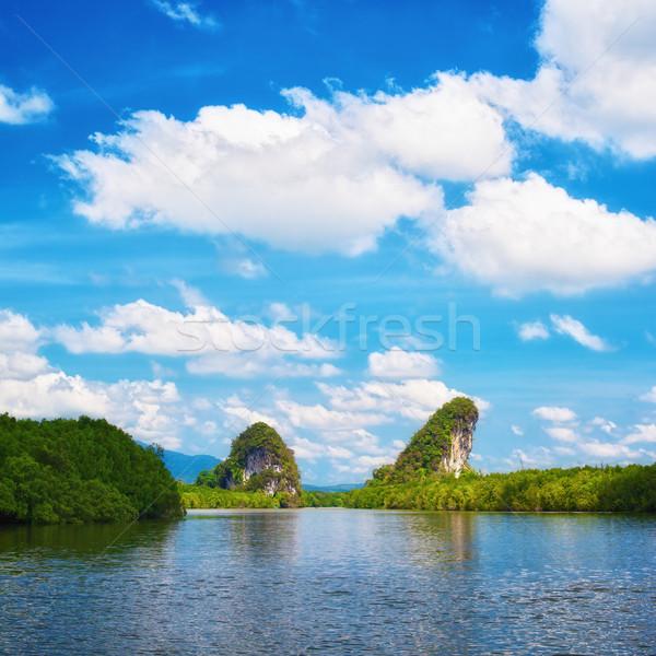 Krabi rocas día Tailandia cielo Foto stock © PetrMalyshev