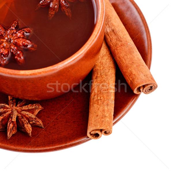 Té canela estrellas anís taza alimentos Foto stock © PetrMalyshev