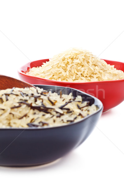 Bowls Of Raw Rice Stock photo © PetrMalyshev
