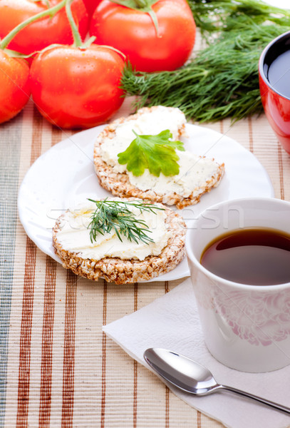 Dieta café da manhã chá milho pão papel Foto stock © PetrMalyshev