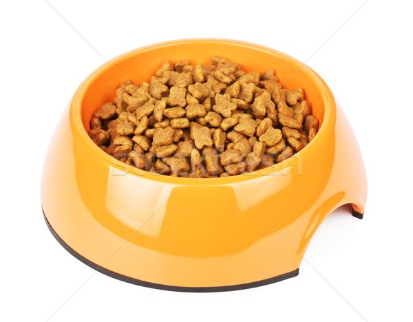 Dry Cat Food In Orange Bowl Stock photo © PetrMalyshev