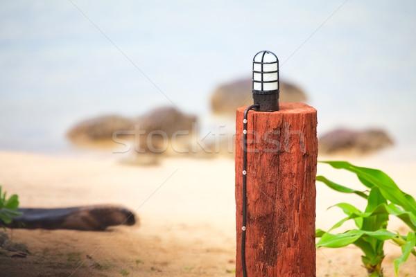 Foto d'archivio: Lampada · legno · stand · spiaggia · acqua · natura