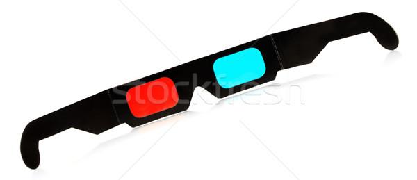 Occhiali 3d nero 3D isolato bianco Foto d'archivio © PetrMalyshev
