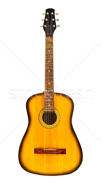 Sarı akustik gitar yalıtılmış beyaz konser siyah Stok fotoğraf © PetrMalyshev