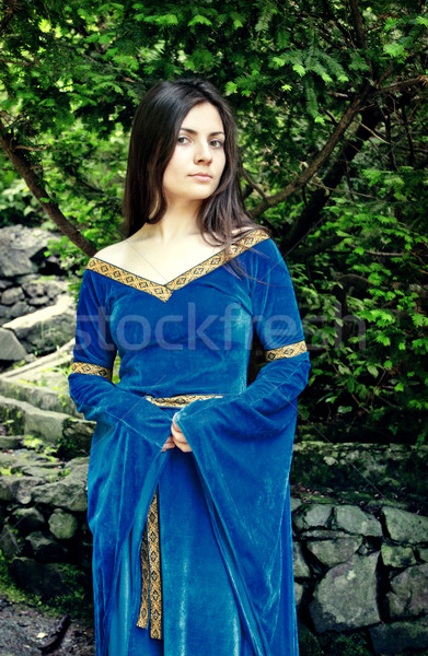 beautiful princess standing near trees Stock photo © PetrMalyshev