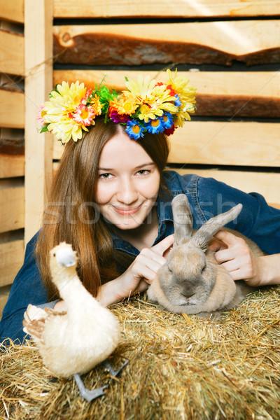 Dziewczyna królik piękna dziewczyna lata dzień kwiaty Zdjęcia stock © PetrMalyshev
