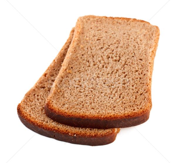 Rozs kenyér szeletek izolált fehér étel Stock fotó © PetrMalyshev