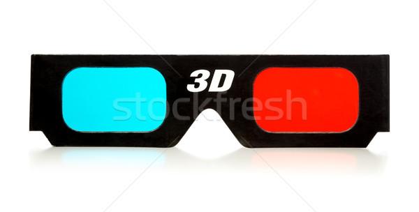 Ochelari 3d negru 3D izolat alb Imagine de stoc © PetrMalyshev
