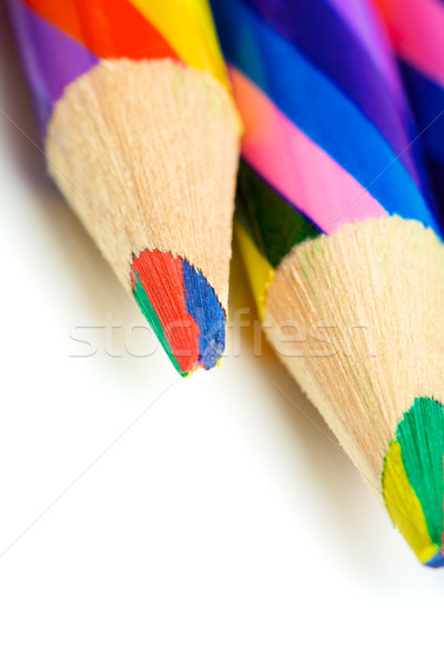 Stock fotó: Színes · ceruzák · csíkos · izolált · fehér · iskola