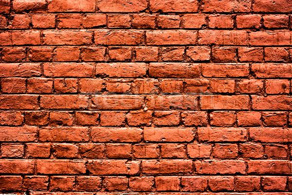 Piros téglafal magas döntés textúra épület Stock fotó © PetrMalyshev