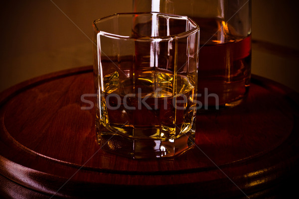 whiskey glass on wooden tray Stock photo © PetrMalyshev