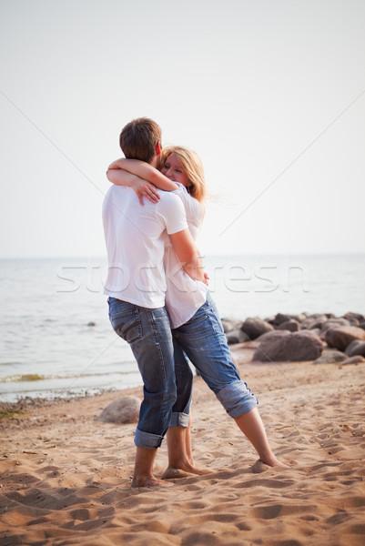 Сток-фото: пару · весело · пляж · красивой · женщину · девушки