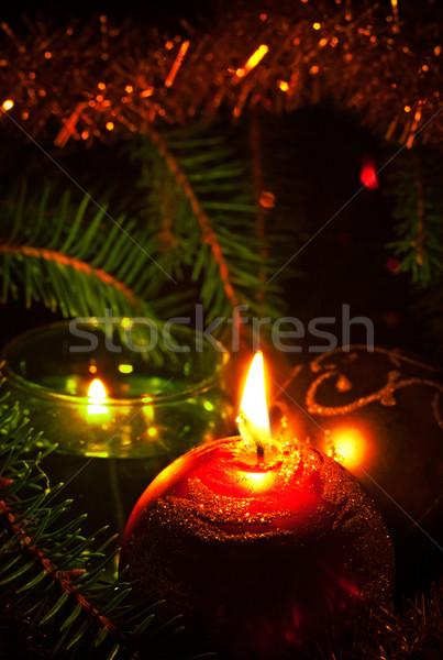 Kaarsen decoratie bal liefde Rood Stockfoto © PetrMalyshev