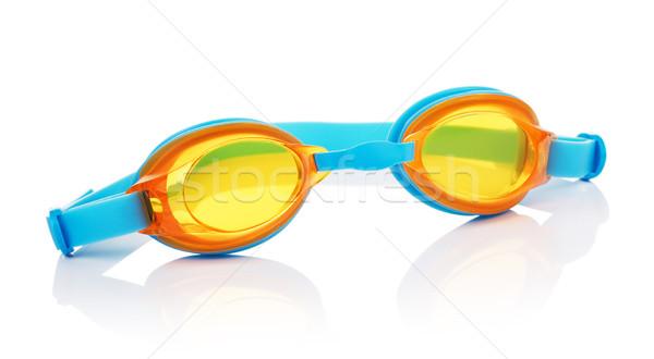 Natación gafas aislado blanco deporte naranja Foto stock © PetrMalyshev
