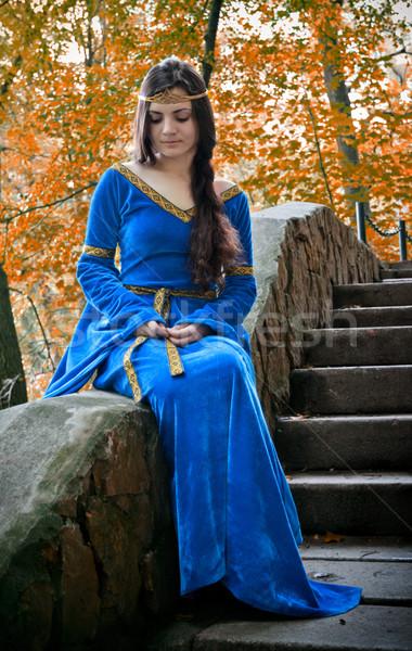 Elf principessa pietra scala bella seduta Foto d'archivio © PetrMalyshev